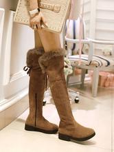 Damen Overknee-Stiefel Khaki Round ToeSuede Leder Upper Puppy Heel