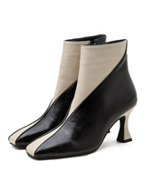 Women Ankle Boots Ivory Leather Square Toe Stiletto Heel Short Booties