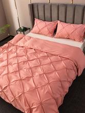 Juego de ropa de cama Fabuloso 3 piezas de fibra de poliéster Rosa Suministros para el dormitorio