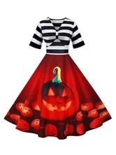 Robe rétro pour femme des années 1950, motif de Noël rouge, manches courtes, robe Rockabilly