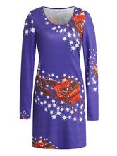 Damen Shift Kleider Lila Jewel Neck Polyester Printed Modern Tube Dress