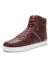 Mens Sneakers Red Cosy Leather Round Toe Cowboy Boots Casual Shoes