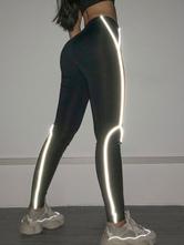 Damenbekleidung Yogahosen Polyester Schwarz Sport Yoga Leggings