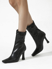 Damen Stiefeletten Schwarz Leder Square Toe Fashion Booties