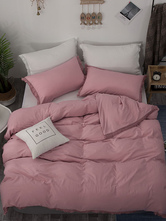 Juego de cama, 3 piezas, mezcla de poliéster y algodón, ropa de cama rosa