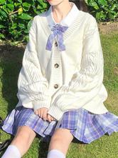 Casaco acadêmico Lolita Casaco Branco Poliéster Casaco de Inverno Lolita Outwears Casaco Cardigan de malha
