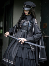 Gothic Lolita Dress OP Military Style 4 pezzi Set Ruffle Cloak Dress Shirt Hat Gothic Lolita Set