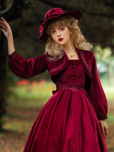 Sweet Lolita Cover-ups Burgundy Top Velour Long Sleeve Lolita Outwears