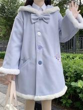 Cappotti Sweet Lolita Cappotto con fiocchi blu scuro in poliestere Inverno Lolita Outwears manica lunga