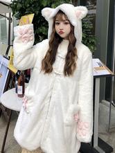 Dulce Académico Lolita Abrigos Abrigo de poliéster blanco caída Lolita ropa exterior Abrigo