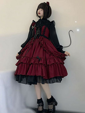 Black Gotic Lolita JSK Dress Neverland Burgundy Sleeveless Bows Cascading Ruffles Seven Deadly Sins Wrath Lolita Jumper Skirts