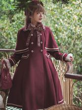Cappotti Lolita accademici Soprabito blu scuro a maniche lunghe in poliestere Lolita Outwear