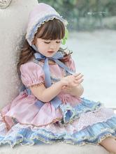 子供の甘いロリータドレス帽子ピンク半袖ブルーボウフリルポリエステルキッズプリンセスワンピースドレス