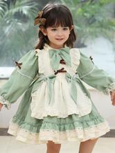 Vestido infantil Sweet Lolita Verde Babados Poliéster Manga Longa Vestido Infantil One Piece