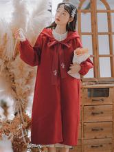 Sweet Lolita Coats Sobretudo vermelho manga longa de poliéster Fall Academy Lolita Outwears