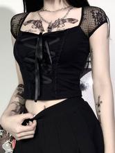 Camisa gótica negra para mujer Top de algodón sexy Top gótico de manga corta con cuello cuadrado