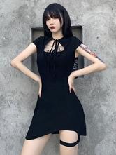 女性のゴシックドレスブラックゴシックポリエステルボディコンレトロドレス