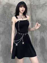 Women's Black Gothic Dress Waist Chain Polyester Sleeveless Summer Dress