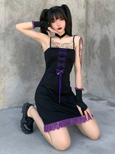 Women Gothic Dress Black Polyester Spaghetti Lace Women's Dress