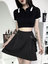Women's Black Gothic Polo Shirt Turndown Collar Cotton Short Sleeve Top