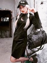 女性のゴシックパーカードレスムーンブラックポリエステルトップレトロドレス