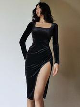 Vestido gótico para mujer, negro, poliéster, mangas largas, aberturas altas, vestido retro ajustado