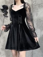 女性のゴシックドレスブラックゴシック韓国ベルベットレーススリーブレトロドレス