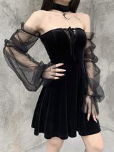 Vestido gótico de mujer Vestido retro ajustado de poliéster gótico negro