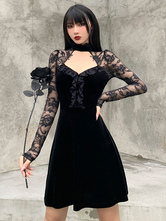 Women Black Gothic Dress Cotton Long Sleeve Bodycon Dress