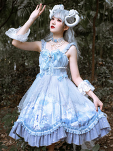 Sweet Lolita JSK Dress Baby Blue Sleeveless TieredBows Lace Lolita Jumper Skirts