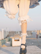 Sweet Lolita Bloomers Fringe Stars Pattern Cropped White Lolita Shorts