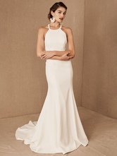 Wedding Dress Halter Sleeveless Bows With Train Bridal Gowns