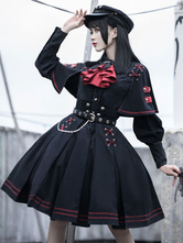 Lolitashow Gothic Lolita OP Dress Military Style 4 Pieces Set Academic Lolita Outfits Black Long Sleeves Military Lolita Sets