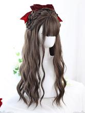 Harajuku moda lolita peruca longa fibra resistente ao calor café marrom lolita acessórios
