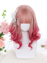 Harajuku Fashion Lolita Peruca Média Resistente ao Calor Fibra Rosa Acessórios Lolita