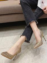 Mulheres Pumps Silver Slip On Ponted Toe Strass salto agulha