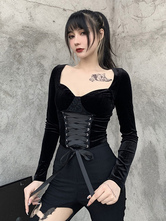 Blusa gótica de mujer negro con cordones cuello cuadrado poliéster gótico