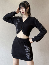 Women Gothic Two Piece Set Black Polyester V Neck Long Sleeve Top Skirt