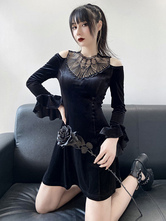 Women Gothic Dress Black Lace Long Sleeve Polyester Bodycon Dress