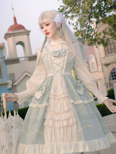 Sweet Lolita JSK Dress Mint Green Sleeveless BowsLace Up Lolita Jumper Skirts