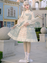 Sweet Lolita Blouses Ruffles Lace Up Long Sleeves Blouse Apricot Lolita Shirt Portrait Neck Lolita Top