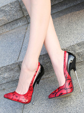 Women Sexy High Heels Red Pointed Toe Snake Print Stiletto Heel Sexy Shoes