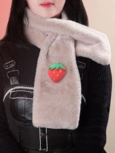 Lolitashow Sweet Lolita Scarf Ecru White Short Plush Choker Miscellaneous Lolita Accessories