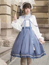 Sweet Lolita Outfits Baby Blue Lace UpFringeRuffles Long Sleeves Chinese Style Lolita Shirt