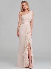 Chiffon Bridesmaid Dress One Shoulder Prom Dress Ruffles Mermaid Dress Sleeveless Party Dresses Pageant Dress