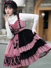 Sweet Lolita Outfits Black Bows Ruffles Crewneck Long Sleeves Lolita Jumper Skirt