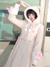 Sweet Lolita Coats Light Apricot Lace Up Bows Polyester Overcoat Winter Lolita Outwears