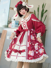 Sweet Lolita OP Dress Lace Up Bowknot Long Sleeves Ture Red Lolita One Piece Dresses Jump Skirt