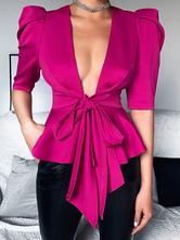 Camicetta da donna in cotone rosa con scollo a V e maniche lunghe con lacci casual