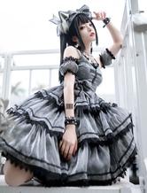 Vestido Jumper Sweet Lolita JSK cinza preto sem mangas escuro Lolita Jumper Saia